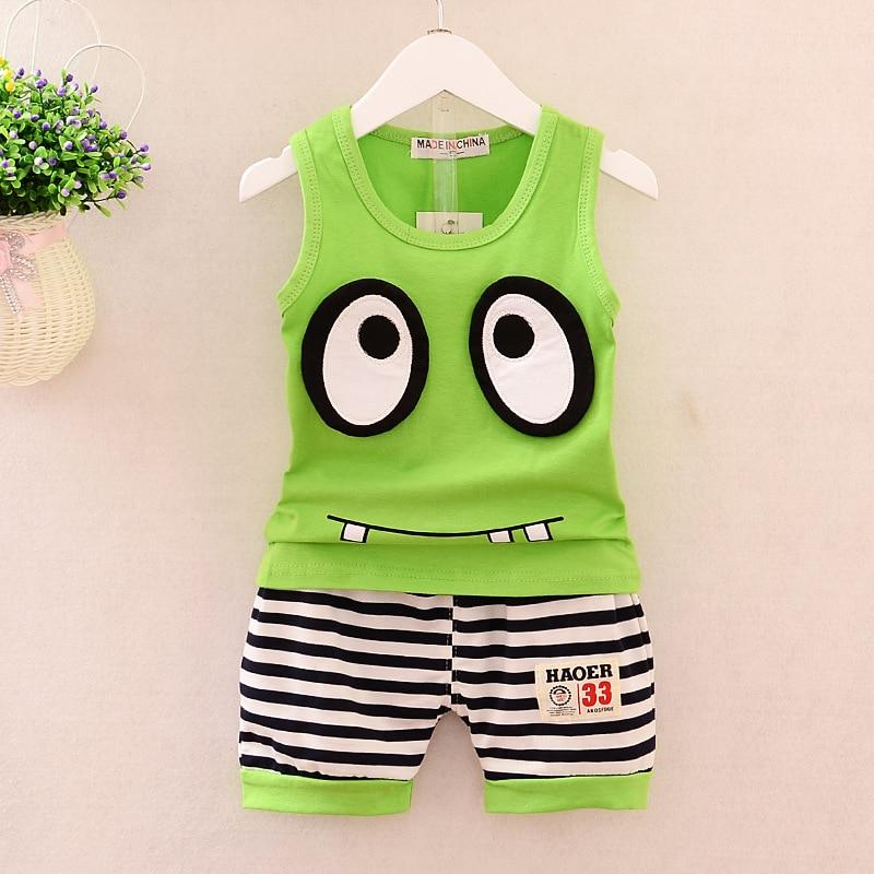 Gutherzig Kinder Mode Baumwolle Kleidung Sets Kleinkind Kleidung Kleinkind Baby Jungen Kleidung Gesetzt Großen Augen Cartoon Ärmellose T-shirt + Shorts Anzüge