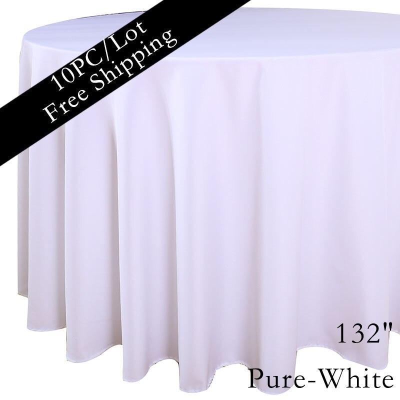 """100% โพลีเอสเตอร์ 132 """"สีขาวธรรมดาร้านอาหารตารางผ้าลินินสำหรับงานแต่งงานฉลองครบรอบตกแต่ง-ใน ผ้าปูโต๊ะ จาก บ้านและสวน บน   3"""