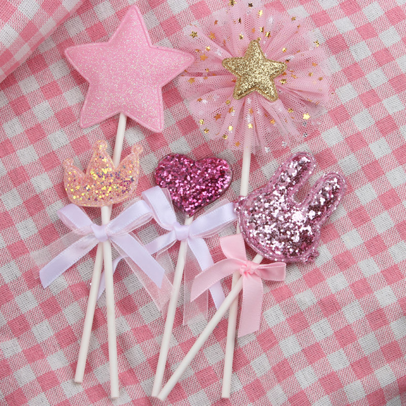 Image 4 - 5 pcs/lot pink star heart crown birthday cake topper cupcake decoration baby shower kids birthday party wedding favor supplies-in Cake Decorating Supplies from Home & Garden