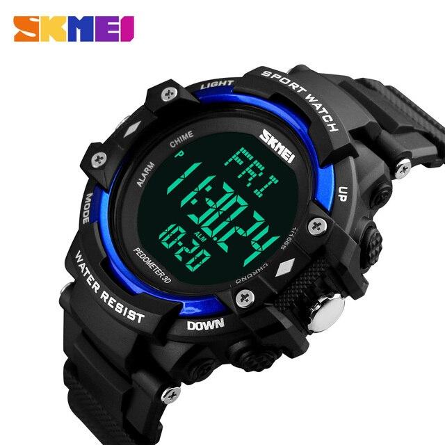 SKMEI 1180 Men 3D Pedometer Heart Rate Monitor Sport Watch Calories Counter  Fitness Tracker Digital Display Watch Japan Movement fb985571d8