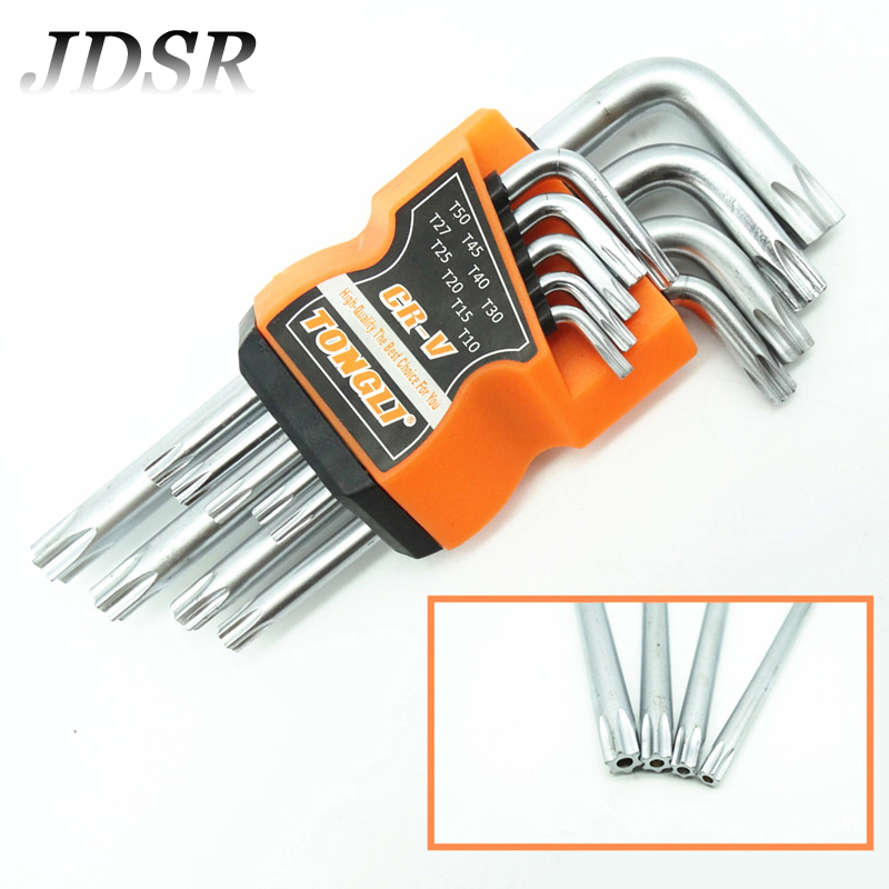 цена на JDSR 9Pcs Double Wrench Set End Hex Socket Wrench Torque Key Bionic Hex Key Allen Wrench L-Type T10-T50 Repair Tools Spanner Set