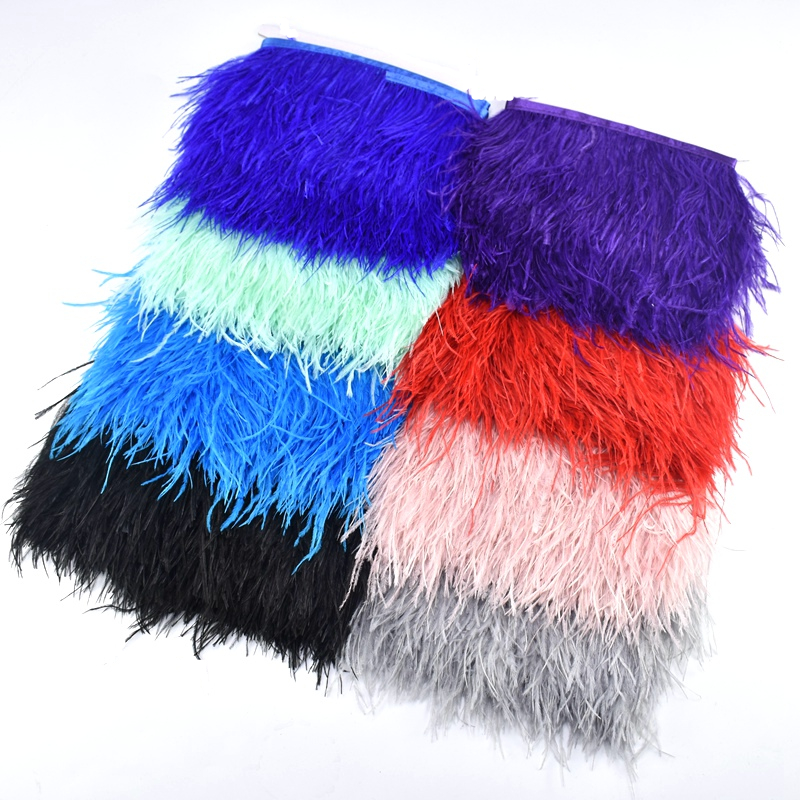 1meters/Lot Natural Ostrich Feather Trimming Height 8-10cm Feathers For Crafts Ribbon DIY Wedding Party Dresss Decoration Plumes