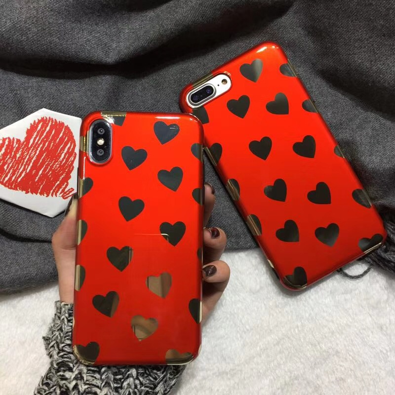 Luxury Shining Red Love Heart Phone Case For iphone x Case soft TPU Glossy Case For iphone 6 6s 7 8 Plus Back Cover