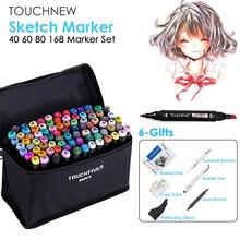 TOUCHNEW MARKER ปากกา 40/60/80/168 สีชุดวาด Sketch MARKER แอลกอฮอล์สีดำอุปกรณ์ศิลปะ 6 ของขวัญขายร้อน
