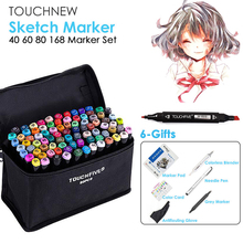 TOUCHNEW Marker Pen 40/60/80/168 Color Set Drawing Sketch Marker Alcohol Based Black Body Art Supplies With 6 Gifts Hot Sale