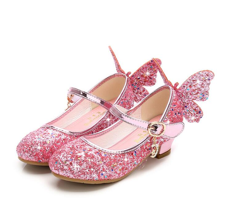 Girls High Heel Shoes Fashion Kids Sequin Princess Shoes Butterfly Wing Party Wedding Girls Dance Shoe Gold Pink Blue Silver