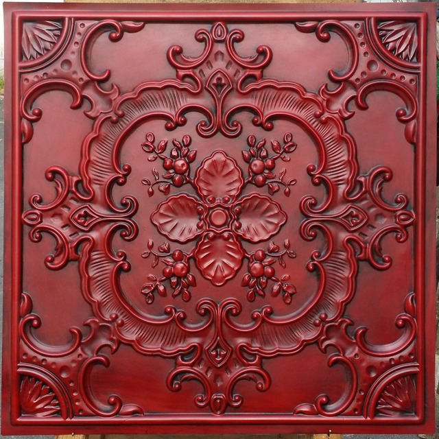Pl19 Faux Pressed Tin Ceiling Tiles Antique Red Color Embossed Photographie Background Wall Panels 10tiles Lot