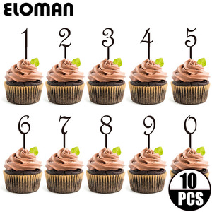 10PCS/lot 0-9 black acrylic number cupcake topper for wedding and birthday party decoration age cake topper(China)