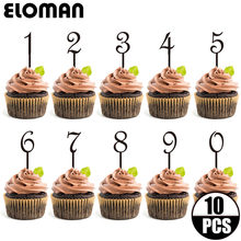 10PCS/lot 0-9 black acrylic number cupcake topper for wedding and birthday party decoration age cake topper
