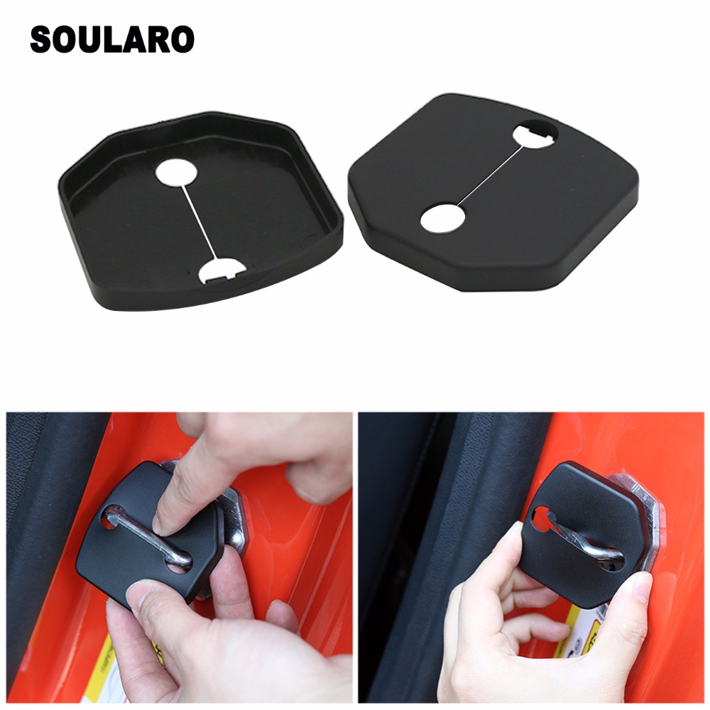 For Ford Mustang 2015 2016 ABS Black Car Door Lock Buckle Cover Decor Frame Trim