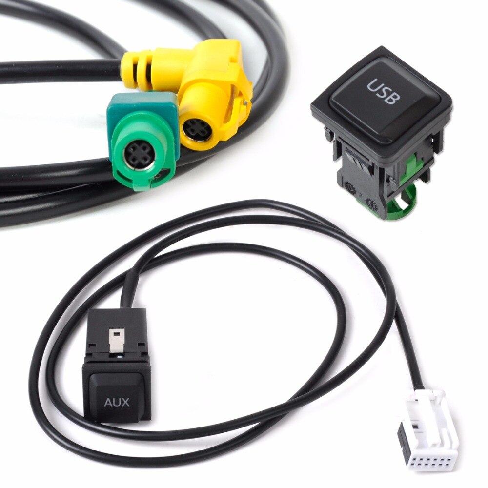 DWCX New USB AUX Switch Plug Cable Kit 5KD035726 A 5KD035724 A For Volkswagen VW Golf Jetta MK5 RCD510 2006 2007 2008 2009 2010