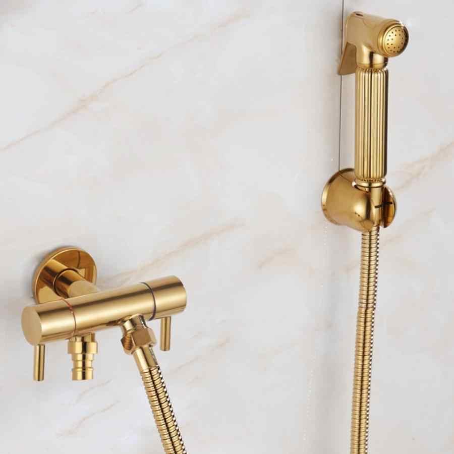 Całości z miedzi, pod ciśnieniem złoty sprayu wc jeden na dwa się zawór kątowy czyste ciało Bidet dyszy materiały łazienkowe