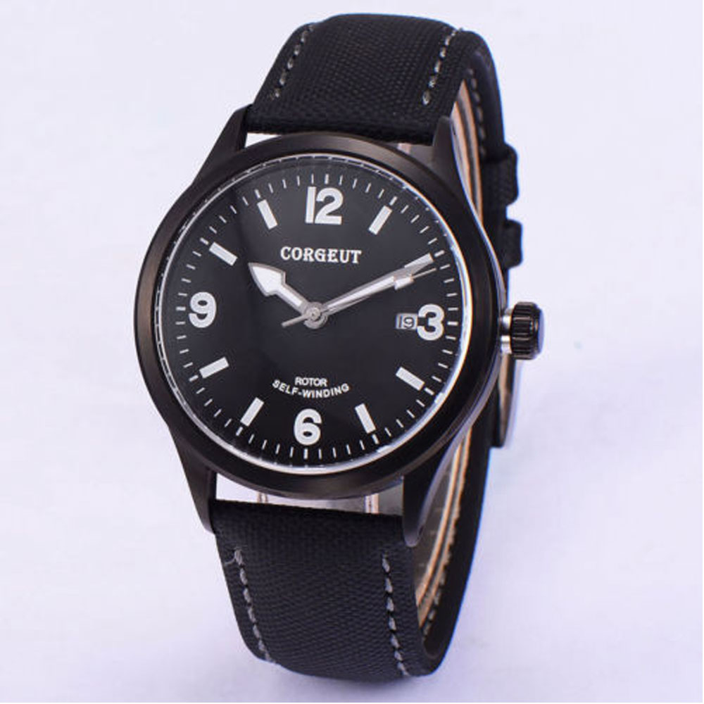 New 41mm Corgeut black dial PVD coated Luminous marks Deployment Clasp Sapphire Crystal Miyota Automatic Mechanical Mens Watch New 41mm Corgeut black dial PVD coated Luminous marks Deployment Clasp Sapphire Crystal Miyota Automatic Mechanical Mens Watch