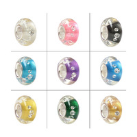 100 925 Sterling Silver Large Hole Rhinestoner Inside Murano Glass European Charm Beads Fit Brand Bracelet