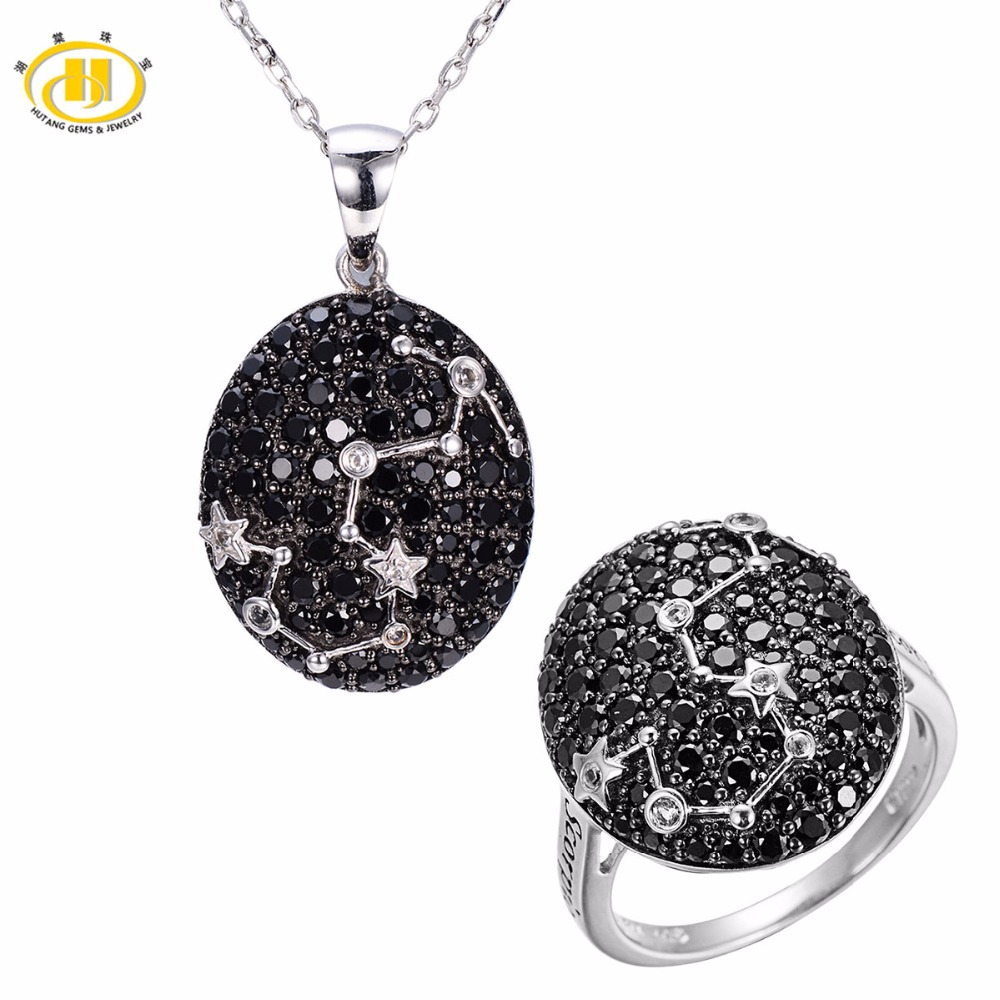 Hutang Scorpio Black Spinel Jewelry Sets Pendant Ring 925 Silver Sign Fine Jewelry for Womens Gift 24th Oct Until 22th NovemberHutang Scorpio Black Spinel Jewelry Sets Pendant Ring 925 Silver Sign Fine Jewelry for Womens Gift 24th Oct Until 22th November