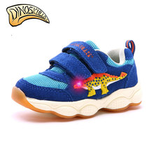 Dinoskulls Toddler Boys Light Up Shoes LED Kids Sneakers 3D Dinosaur Breathable Mesh Children's Trainers 2019 Summer Shoes