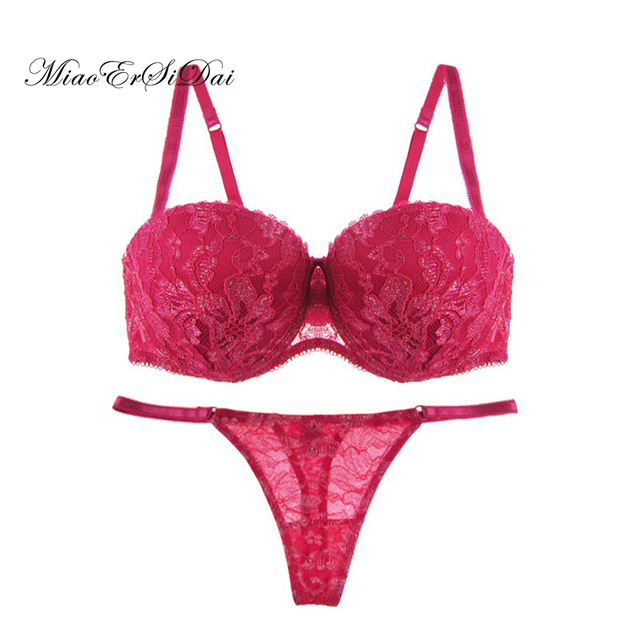 fd1e808d66 Sexy bra set red gold lace underwear 1 2 cup B C D cup 34 36 38-in ...