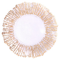 gold glass dishes plate tableware 1 pc