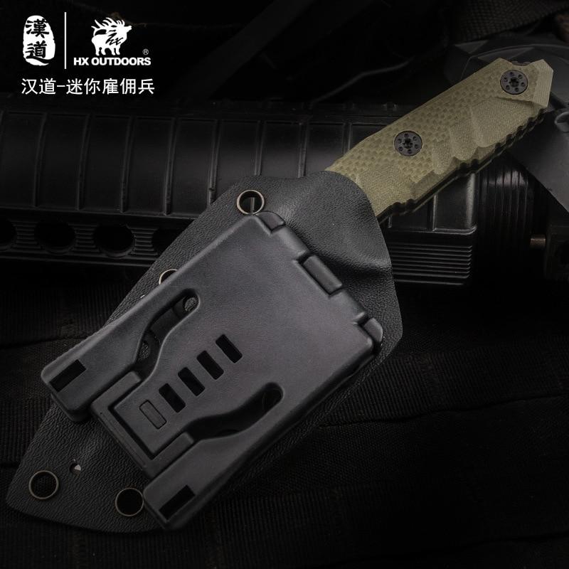 Купить с кэшбэком HX OUTDOORS Mini Mercenaries D2 Steel Fixed Blade Knife G10 Handle Utility Outdoor Knives With Kydex Camping Hunting EDC Knife