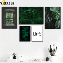 Green Plant Leaves Monstera Fern Window Wall Art Canvas Painting Nordic Posters And Prints Wall Pictures For Living Room Decor