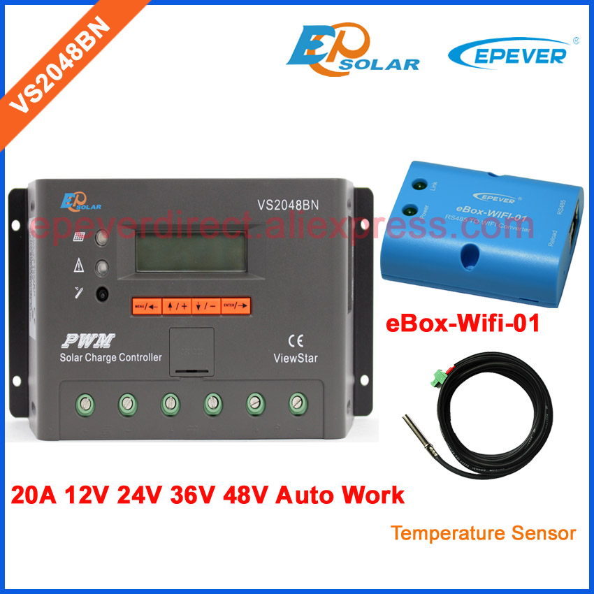 EPEVER 20A controller VS2048BN PWM series 48V solar regulator temp sensor cable and wifi BOX adapter Phone APP use pwm new solar controller viewstar series vs2024bn with usb communication cable 20a 12v 24v wifi connect app box adapter