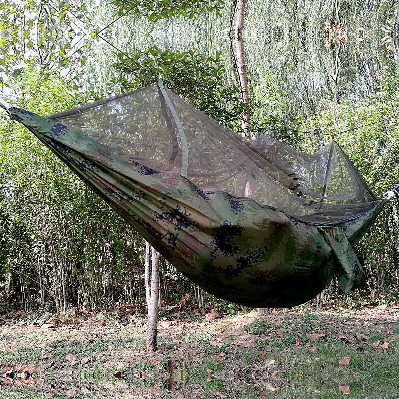 Купить с кэшбэком Ultra light outdoor hammock with mosquito net double mosquito parachute cloth adult rollover camping swing
