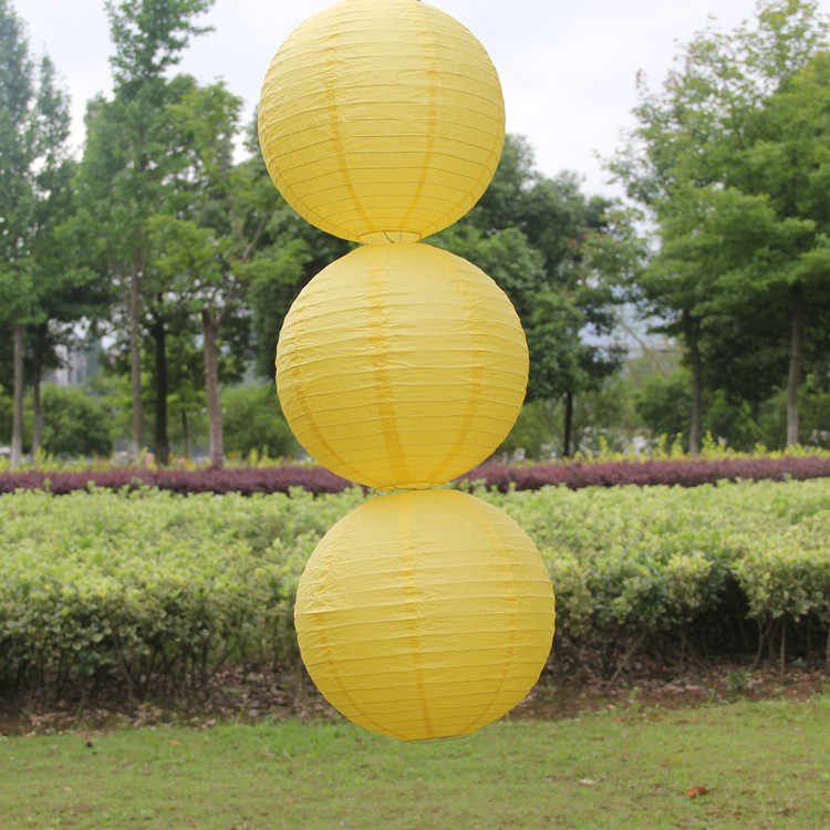 Hot 2017 4- 6- 8- 10- 12- 14-16Inch China Yellow lanterns wedding color lamp chandelier wedding celebration decoration lantern