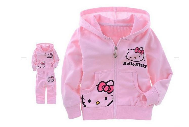 100% cotton hello kitty kids baby pajamas 2 pieces clothes sets long sleeved top lleopard pants Kids girls clothes sets New 2016 children's winter clothing sets hello kitty cat fashion pajamas baby girls clothing set