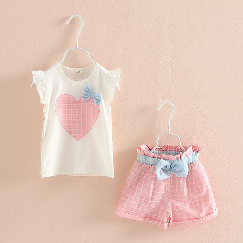 2pcs Girls Suits 2017 Summer New Heart Pattern Children Clothing Set Bow T-shirts Shorts Kids Clothes for Toddler Girls 3-8Y retail 2016 summer new arrival girls clothing set shirt shorts 2 pcs set girl clothes kids suits 2