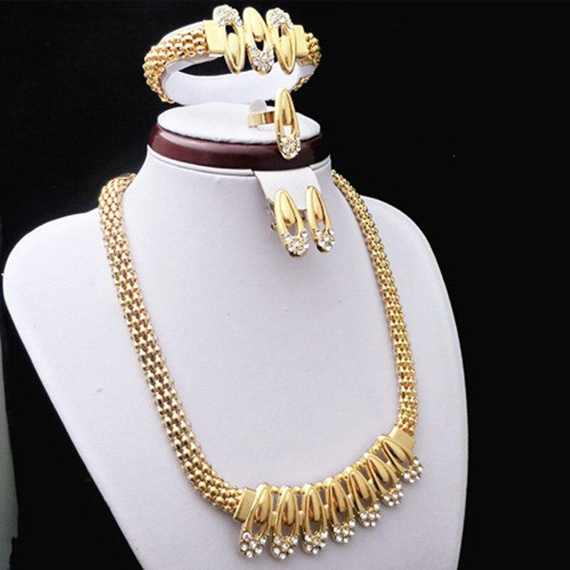 Elegant Bridal Set Heavy Gold Plated Diamante Crystal: Elegant Wedding Fashion Austria Crystal Gold Color Jewelry