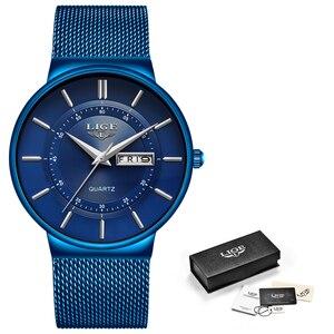 Image 5 - 2019 yeni mavi kuvars saat LIGE Mens saatler üst marka lüks erkekler için basit tüm çelik su geçirmez kol saati Reloj hombre