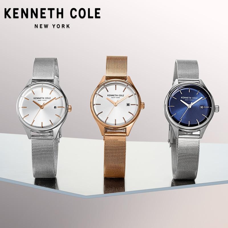 Kenneth Cole Womens Watches Gold Silver Bracelet Simple Quartz Stainless Steel Waterproof Luxury Brand Watches KC10030840 kenneth cole reaction womens napa zip around urban organizer wallet