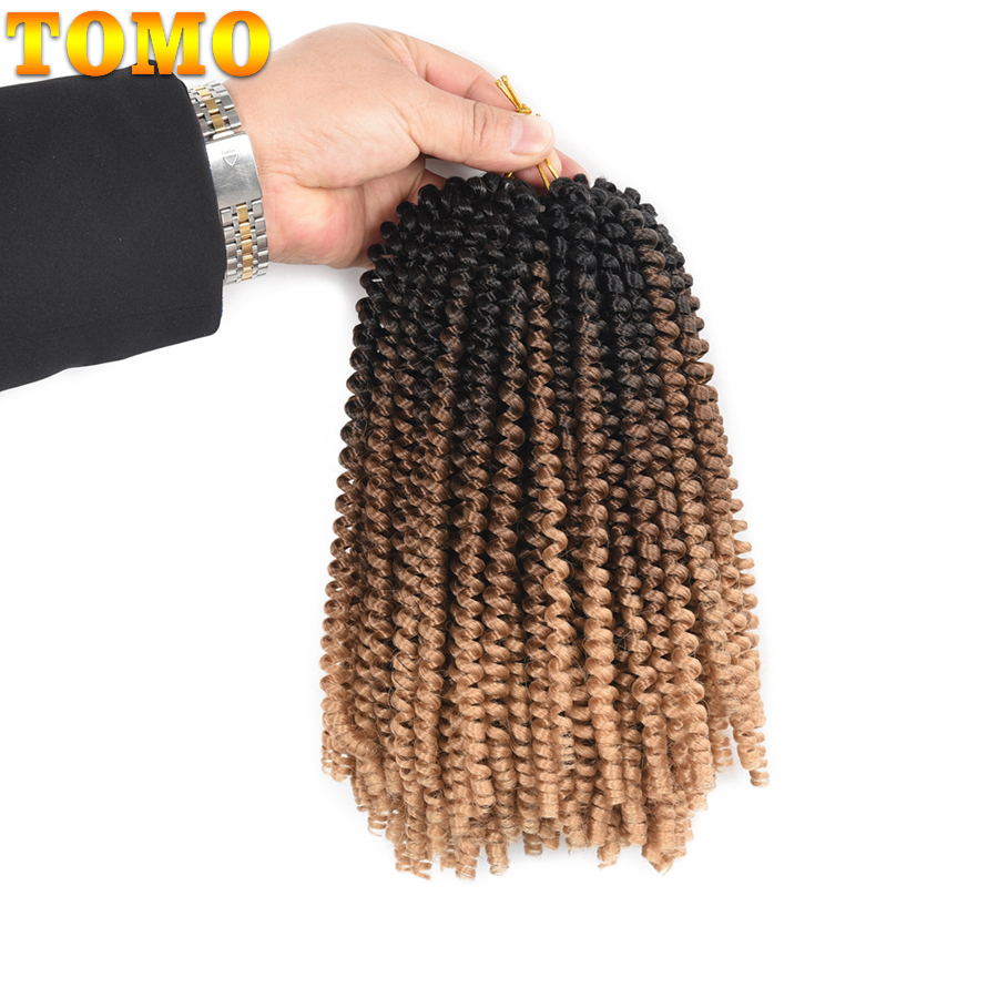 TOMO Fluffy Spring Twist Hair Extensions Black Brown Burgundy 8 Inch Ombre Crochet Braids Synthetic Braiding Hair