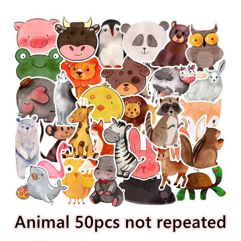 Animal Sticker Pack Laptop Luggage Skateboard Anime Sticker Children Kids Toy Waterproof Stickers Lot Classic Toys 50pcs/Pack