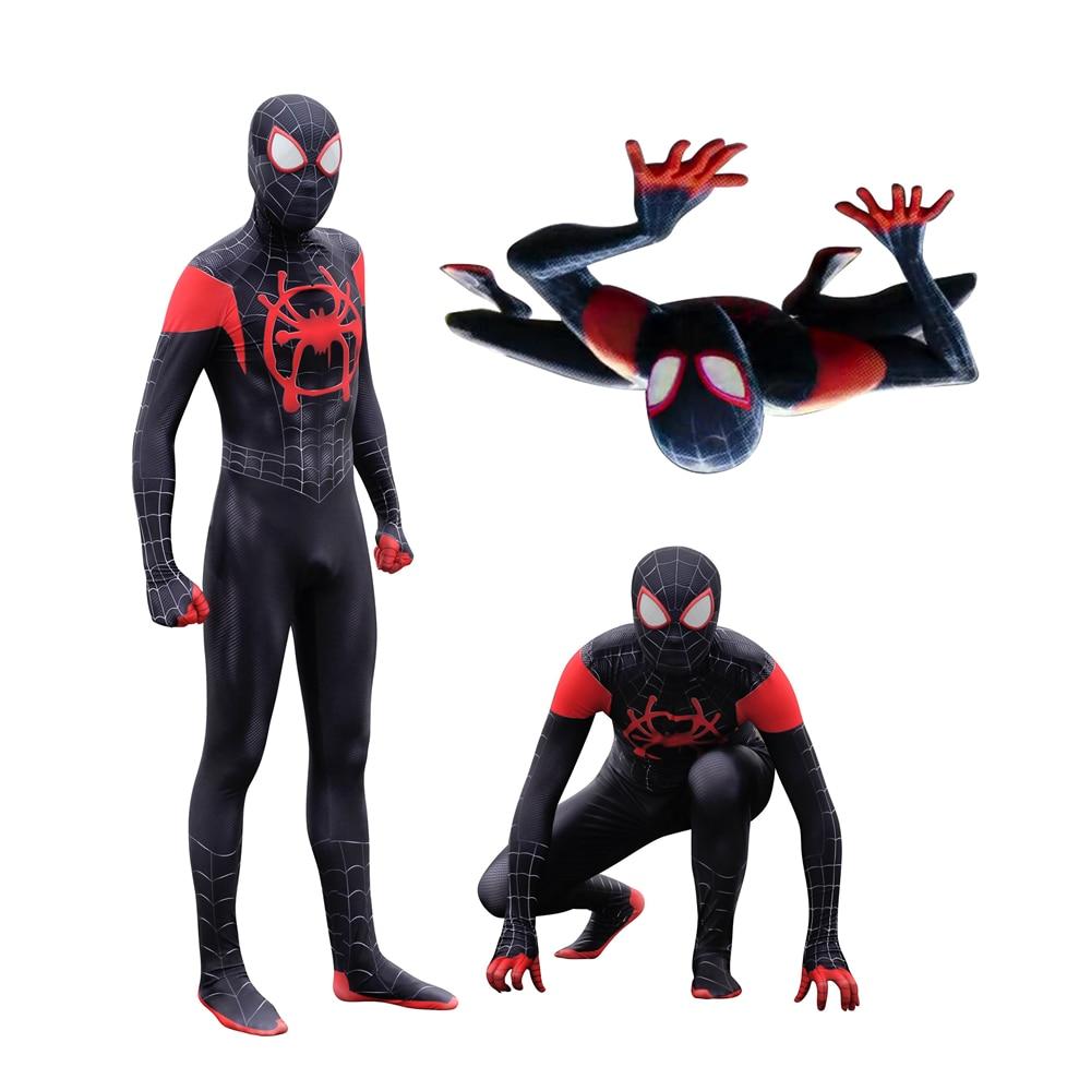 Adult Men Kids Spider-Man Into The Spider-Verse Miles Morales Cosplay Costume Zentai Spiderman Pattern Bodysuit Suit Jumpsuits