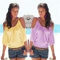 Willtoo 2016 Mulheres Verão Ocasional Fora Do Ombro T Shirt Tops Sexy Top Solto top blusa plus size grande vetement femme
