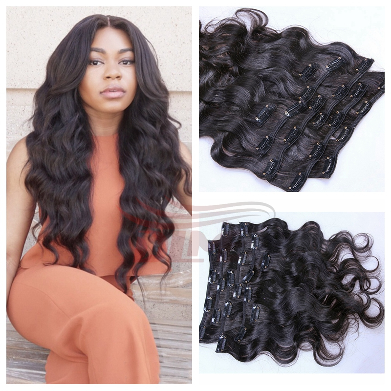 Clip in Human Hair Extensions Wavy Malaysian Virgin Hair Clip Ins Body Wave   1 Jet Black for Black Women Free DHL Fedex Shipping on Aliexpress.com  bd9bc86fb68a