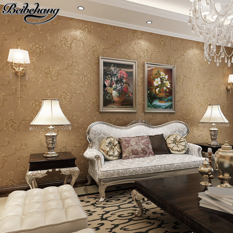 living pressure background bedside beibehang engraved nonwoven fine bedroom wall wallpapers