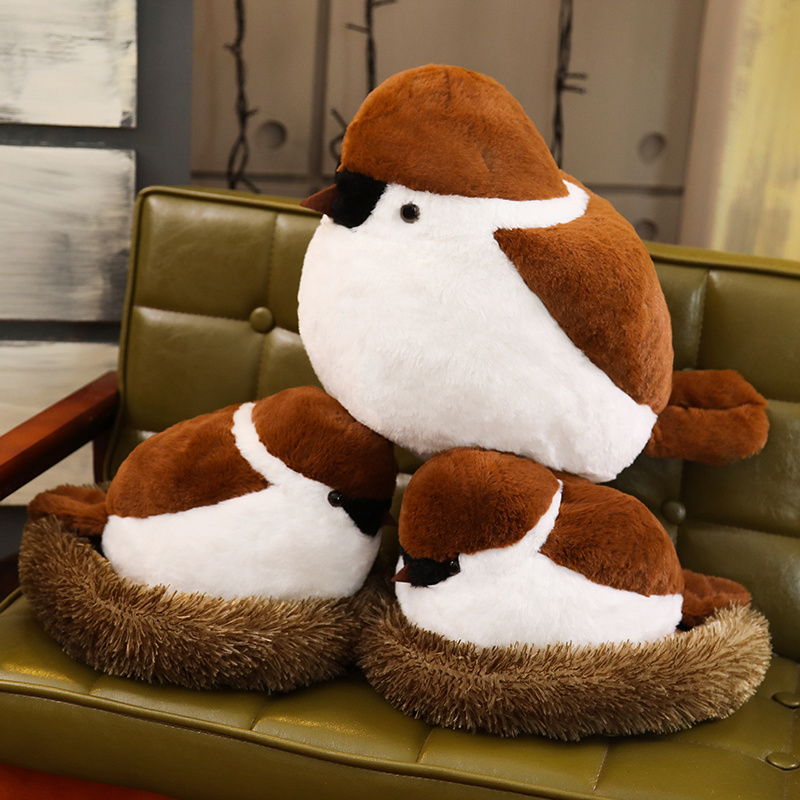 Soft Adroable Realistic Stuffed Bird Animal Sparrow Plush Toys With Fluffy Nest Creative Soft Toys For Children
