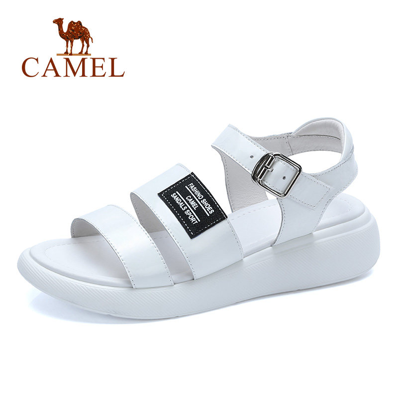 CAMEL Casual Sandals 2018 Summer New Womens Shose Elegant Exposed Toe Soft Ulzzang Chic Fashion Buckle Patent Leather Sandals