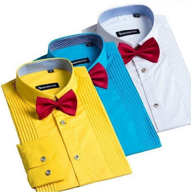 Llegada Francesa hombres Tuxedo Hombres de la Camisa de Manga Larga Camisa de Vestir Para Hombre de Color Sólido Da Vuelta-Abajo Camisa Formal Camisas masculinas Camisa