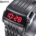 Relógio do Homem de Aço de Ferro único Azul Vermelho Digitais LEVOU luxo Moda militar Esporte Vestido Relógio de Pulso Novo relógio Masculino masculino nova