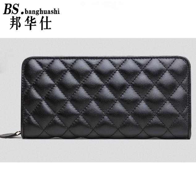 ФОТО 2016 Fashion Long Paragraph Sheepskin Wallet Leather Lingge lock wallets Holding Women's bag