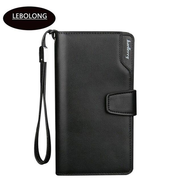 Lebolong 2018 nuevo monedero de cuero PU de alta calidad billeteras multifuncionales estándar moda Casual cremallera masculina Notecase