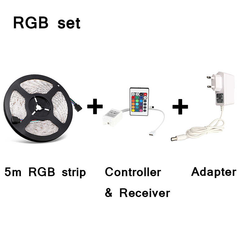 RGB LED Strip Lampu 3528 SMD 5 M 60 LED/M LED Flexible Strip Lampu IR Remote Controller V 2A Adaptor Daya Pita LED
