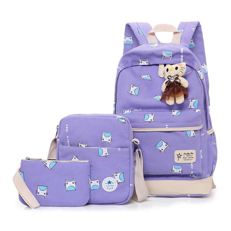 Children canvas School Bag Girls Kids Satchel Primary backpack set 3 pcs kids school Backpack schoolbag kids Mochila Infantil