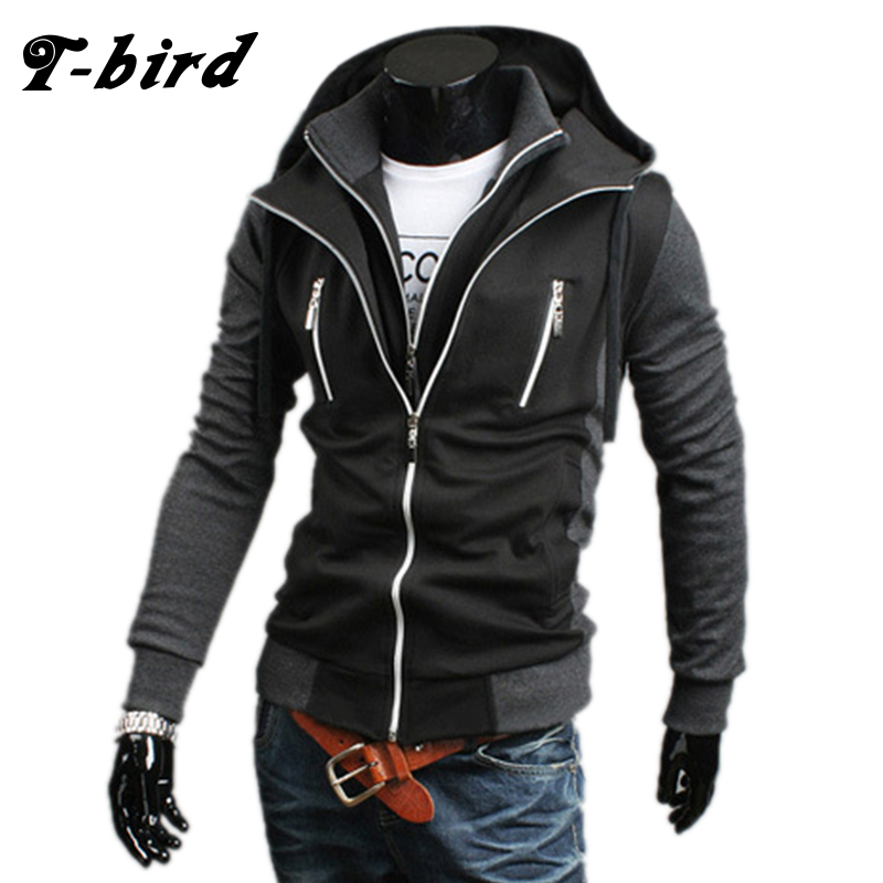 T Bird 2017 Hoodie Men Cardigan Sweatshirt Hip Hop Mens Brand Fake Two Pieces Hoodies Winter