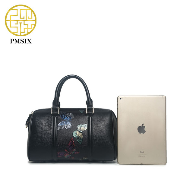 Pmsix Butterfly Printing Women Genuine Leather Handbag Retro Vintage Black Shoulder Bag Female Crossbody Bags Tote Bag P110003