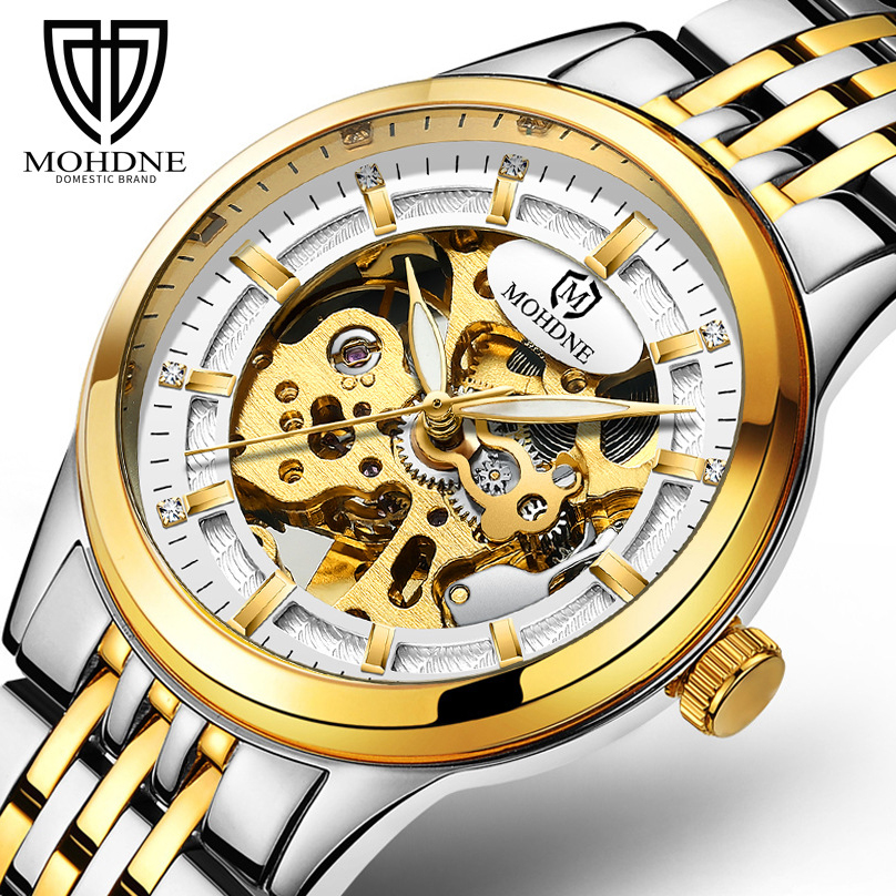 Luxury Top Brand Watch Men Gold Plated Stainless Steel Band Mechanical Watches Male Wristwatch Business Style Relogio Masculino men gold watches automatic mechanical watch male luminous wristwatch stainless steel band luxury brand sports design watches