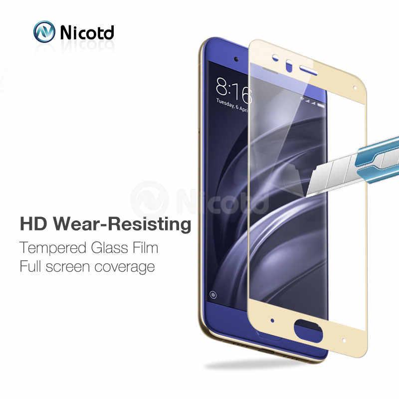 Xio mi mi 6 2 ชิ้น/ล็อต Nicotd 3D กระจกนิรภัยสำหรับ Xiao mi mi 6 mi 6 สีฟ้าตัวป้องกันหน้าจอ Toughened Glass สำหรับ Xio mi mi 6